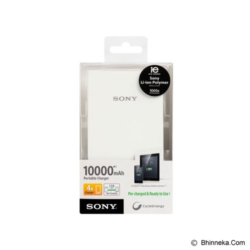 SONY Portable Charger 10,000mAh [CP-V10] - White - Portable Charger / Power Bank